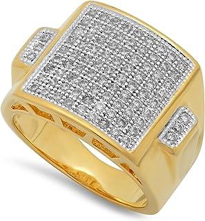 خاتم Micropave CZ مطلي بالذهب بلونين من The Bling Factory + قطعة قماش من الألياف الدقيقة