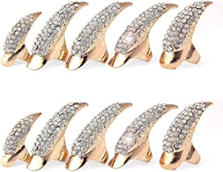 Punk Style Crystal Rhinestone Paved Paw Bend Fingertip Finger Claw Ring Set Fake False Nails Set (Golden,10PCS)
