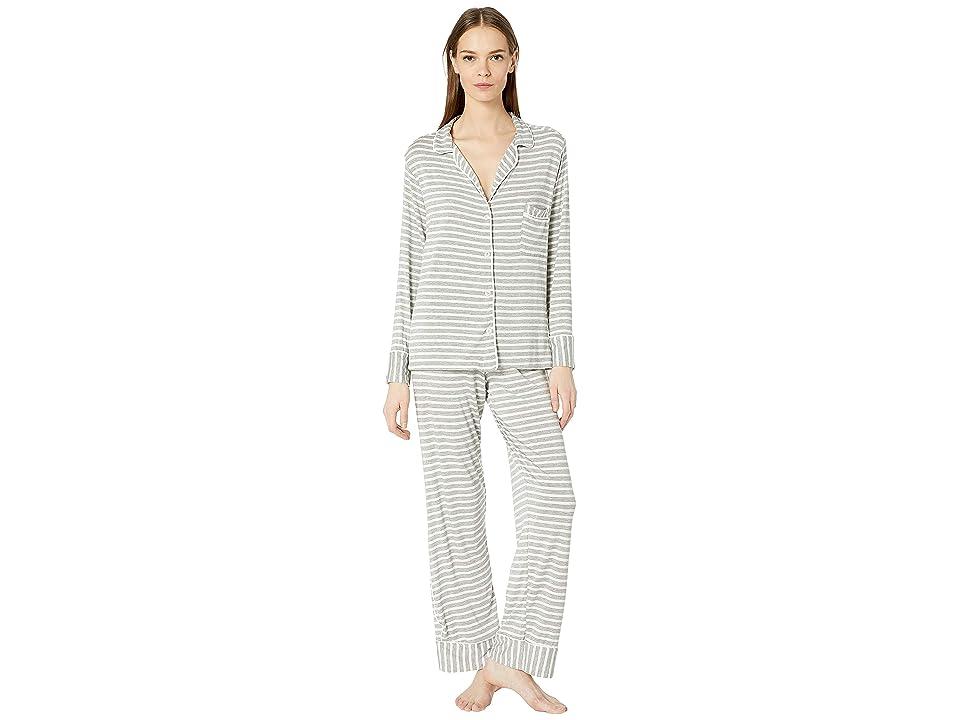 Maison Du Soir Monaco PJ Set (Grey Stripe) Women