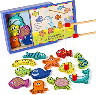 Lewo Wooden Fishing Game Magnetic Fish Pole Set Educational Toys for Toddler Kids Ages 2 3 4