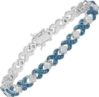 Sterling Silver-Plated Brass XOXO Tennis Bracelet with Blue Diamond, 7.25