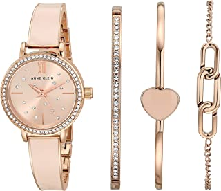 Anne Klein Women's Swarovski Crystal Accented Rose Gold-Tone and Blush Pink Bangle Watch and Bracelet Set, AK/3716BHST