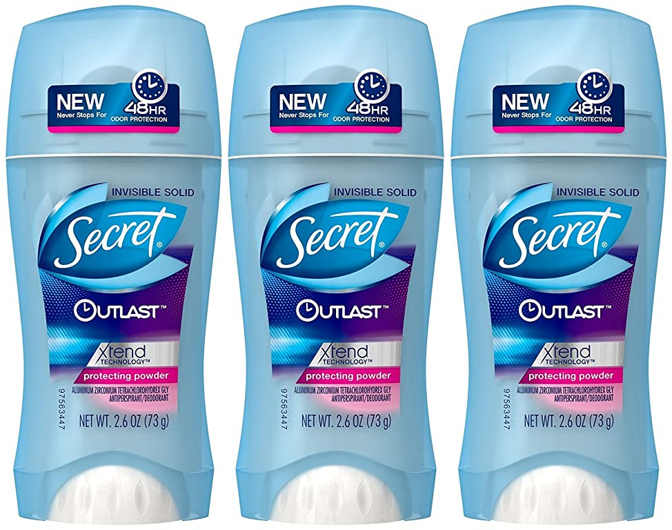 Secret Outlast for Women Antiperspirant Deodorant, Invisible Solid, Protection Powder, 2.6 Oz (Pack of 3)