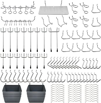 Pegboard Hooks Assortment with Pegboard Bins, Peg Locks, for Organizing Various Tools, 140 Piece: image