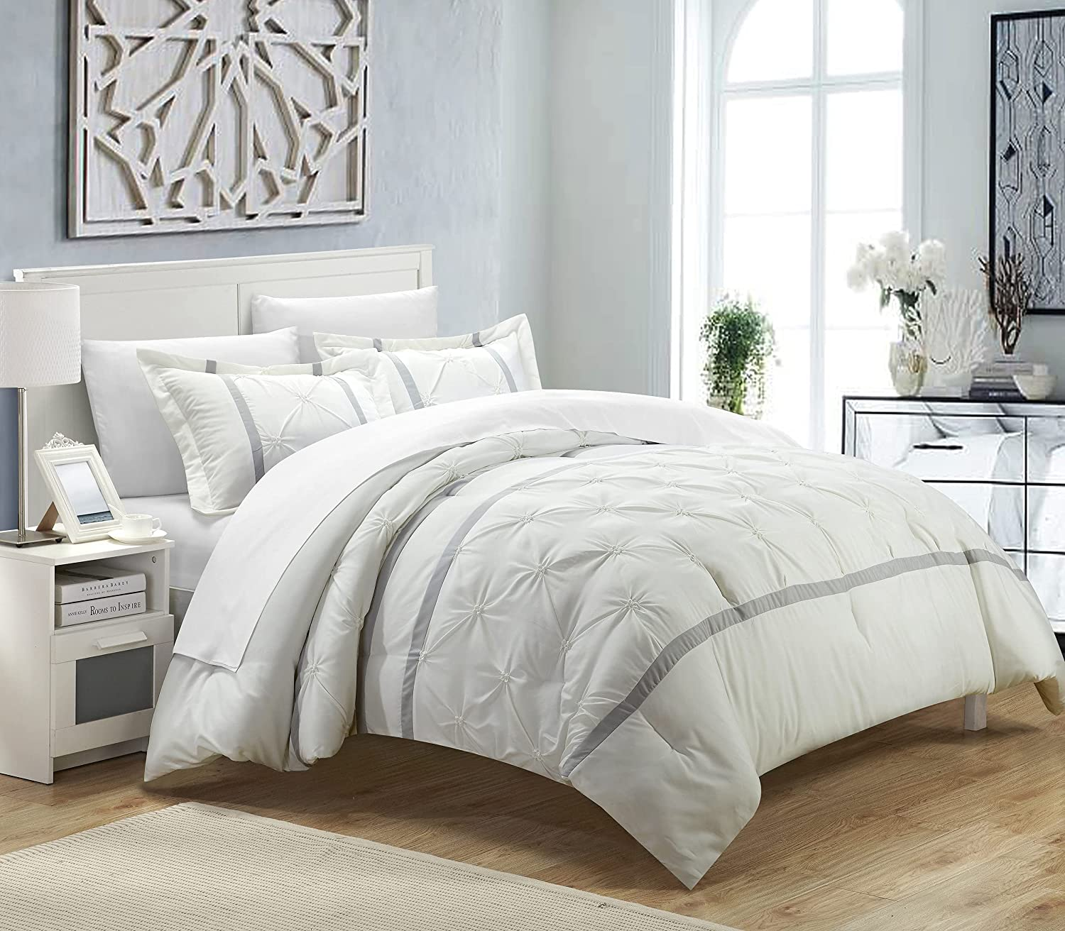Chic Home Fort Worth Mall 3 Piece Veronica Pinch Super sale period limited Pintuck Duvet Pleat Cover Set
