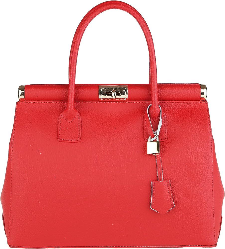 Chicca borse handbag,  borsa a mano per donna,  con tracolla,  in vera pelle,  made in italy DDD8005-ROSSO_CTM