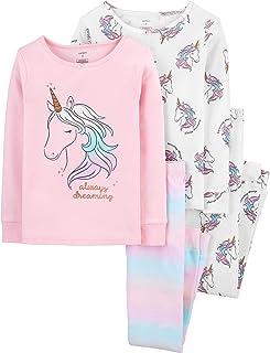 Girls Pajamas PJs 4pc Cotton Snug Swan Striped Set