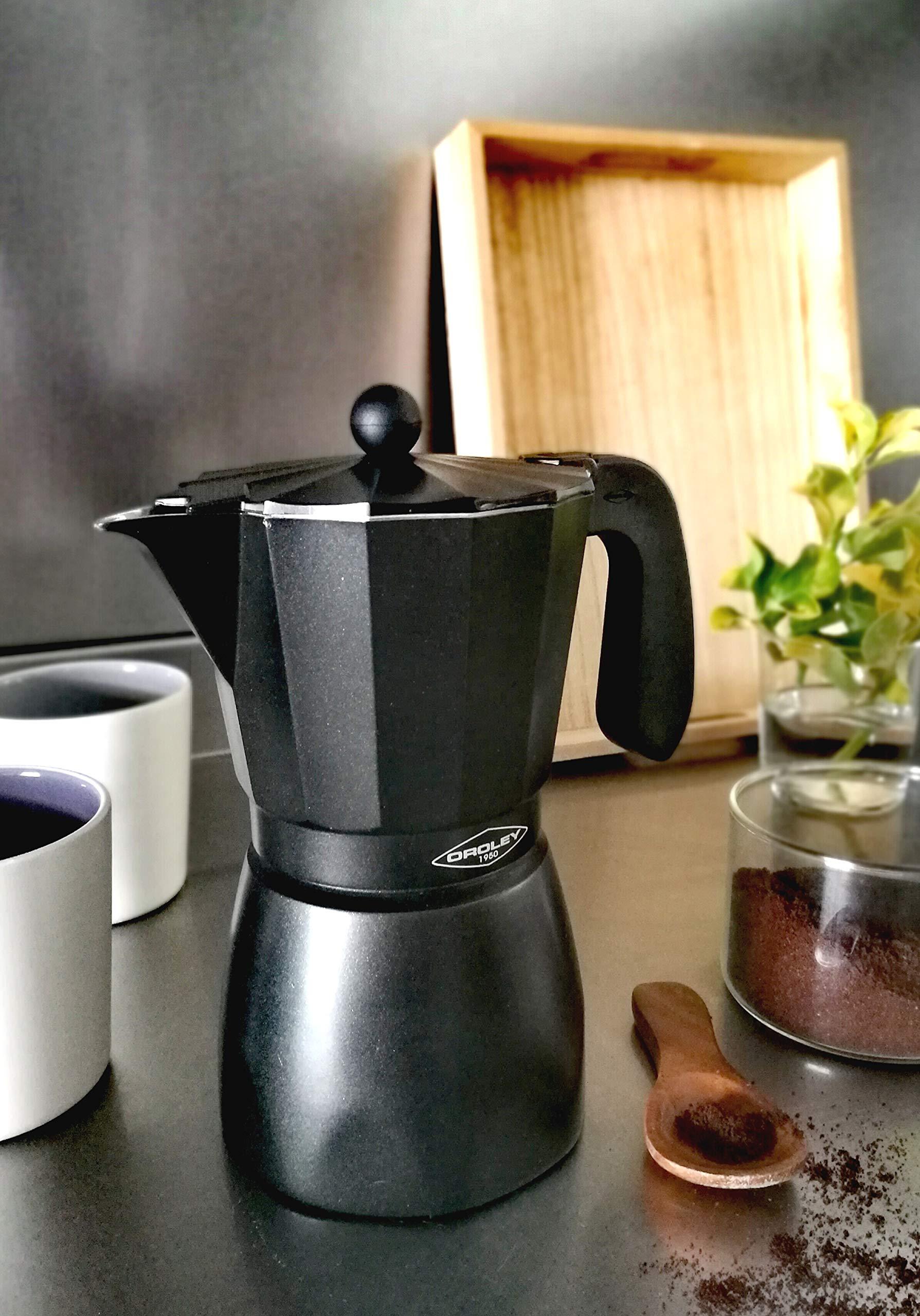 Oroley - Cafetera Italiana Touareg | Aluminio | 3 Tazas | Cafetera Vitrocerámica, Fuego y Gas | Estilo Tradicional ...