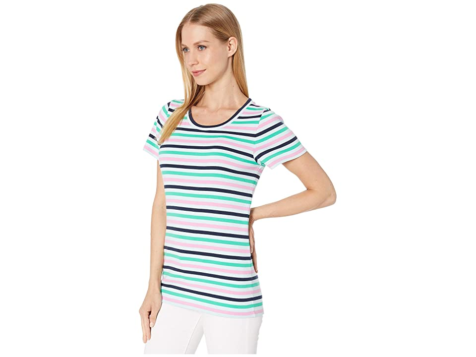J.Crew 1X1 Rib Stripe Short Sleeve Tee (Indigo/Aqua/Emerald) Women's Clothing, Green