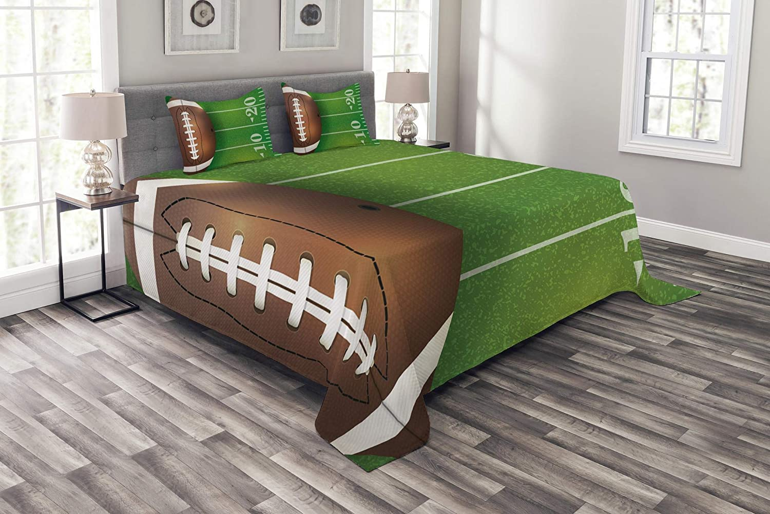 Lunarable Boy's Room Bedspread Set Queen Size, American Football Field and Ball Realistic Vivid Illustration College, Decorative Quilted 3 Piece Coverlet Set with 2 Pillow Shams, Green Brown White