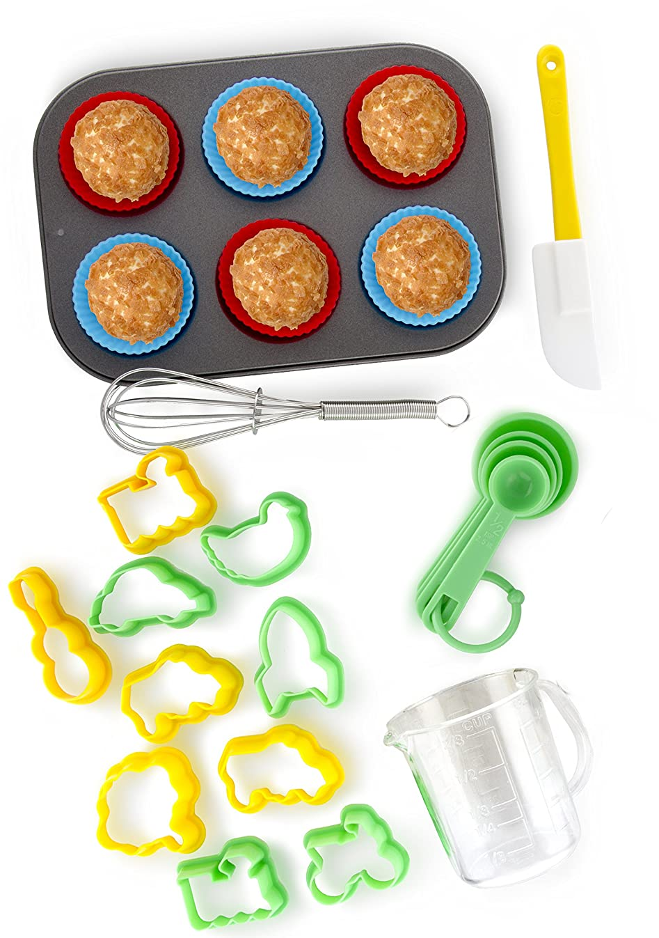 24-Piece Kids Baking Set by Boxiki Kitchen   Muffin Pan, 6 Silicone Cupcake Liners, 10 Cookie Cutters, Spatula, Egg Whisk, Mini Measuring Cup and 4 Measuring Spoons