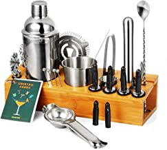 CHASSTOO 28 Pieces Cocktail Shaker Set with Bamboo Stand, Mixology Bartender Kit, Stainless Steel Bar Tools Set with Cockt...