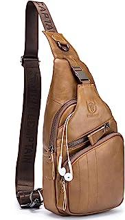حقائب كروس بودي للرجال حقيبة جلدية سلينغ حقيبة عادية Daypacks الصدر حقائب الكتف حقيبة السفر المشي لمسافات طويلة الظهر