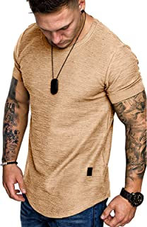 Mens Casual Short Sleeve T-Shirts - Solid Colour Tops Crew Neck Tee Shirt Summer