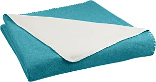 comprar comparacion AmazonBasics - Manta polar, 220 x 240 cm, Verde cerceta/Crema