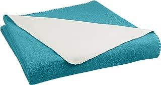 AmazonBasics Reversible Fleece Blanket - Twin/Twin XL, Teal/Cream