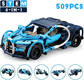PETRIP Kids Stem Building Toys for 6 - 10+ Year Old Boys Girls, Model Cars Kits to Build for Kids Adults Teens Collectible Pull Back Blue Phantom Sports Car 6 in 1 509Pcs Building Blocks Car