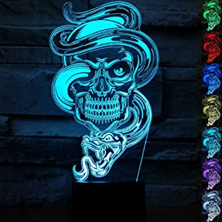 3D Illusion LED Night Light,7 Colors Gradual Changing Touch Switch USB Table Lamp for Holiday Gifts or Home Decorations-Ghost Model