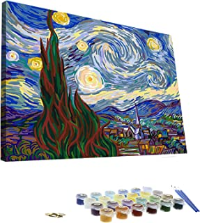 Paint by Numbers for Adults 16 x 20 Inch Wooden Framed DIY Oil Painting Kit for Kids Beginner- Van Gogh The Starry Night