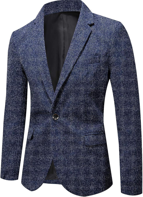 CHARTOU Men's Casual Slim Fit 1 Button Blazer Notched Collar Suit Jackets Tops