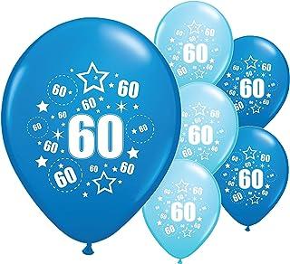 "PA /& BLUE BALLOONS 12/"" HELIUM 10 x AGE 60TH BIRTHDAY BLACK /& SILVER PINK"