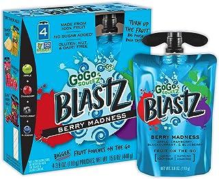 GoGo squeeZ BlastZ Fruit Pouches on the Go, Berry Madness, 3.88 Ounce (24 Pouches), Gluten Free, Vegan Friendly, Unsweeten...