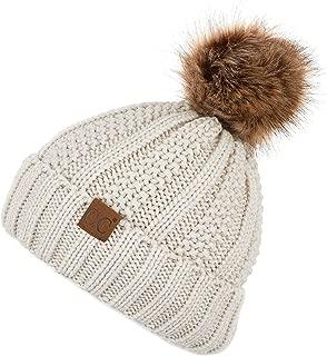 C.C Exclusives Fuzzy Lined Knit Fur Pom Beanie Hat (YJ-820)