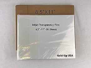 8.5 x 11 Inch Waterproof Inkjet Transparency Film for Silk Screen Printing (50 Sheets)