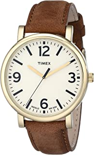 Timex Unisex T2P527AB Originals Gold-Tone Watch with Brown Leather Band