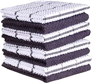 AMOUR INFINI Cotton Terry Kitchen Dish Cloths | Set of 8 | 12 x 12 Inches | Super Soft and Absorbent |100% Cotton Dish Rag...
