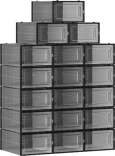 SONGMICS Boîtes à chaussures, Lot de 18, Rangement chaussures, pliable, pour pointure jusqu'à 44, Transparent et noir...