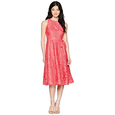 Tahari by ASL Petite Sleeveless Chemical Lace Fit and Flare Midi (Watermelon) Women