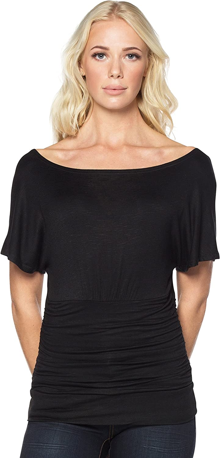 Neesha Off The Shoulder Slub Top with Dolman Sleeves