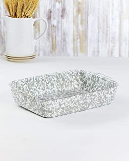 Enamel Coated Metal Bakers Dish - Stylish Speckled Paint Scheme - Gray