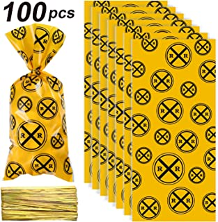 Blulu 100 Pieces Railroad Treat Bags Heat Sealable Treat Candy Bags Train Party Cellophane Treat Party Favor Bags with 100 Pieces Gold Twist Ties for Train or Railroad Themed Party