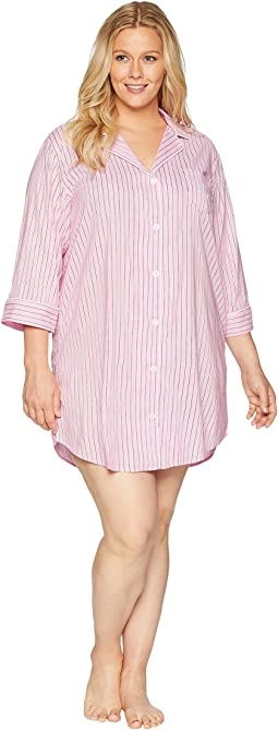 Plus Size Classic Woven 3/4 Sleeve Pointed Notch Collar Sleepshirt