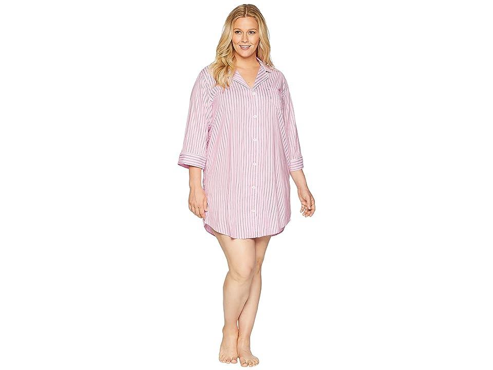 LAUREN Ralph Lauren Plus Size Classic Woven 3/4 Sleeve Pointed Notch Collar Sleepshirt (Pink Stripe) Women