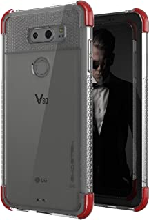Ghostek LG V30 Case, Covert 2 Series Ultra Slim Clear Armor Shockproof Protective Cover – Supports Wireless Charging & Fingerprint Compatible | Red