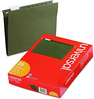 Universal 14115 Hanging File Folders, 1/5 Tab, 11 Point Stock, Letter, Standard Green (Box of 25)