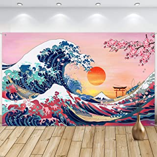 Sumind Ocean Wave Wall Hanging Photo Banner Japanese Kanagawa Backdrop Great Wave Cherry Blossom Nature Background for Jap...