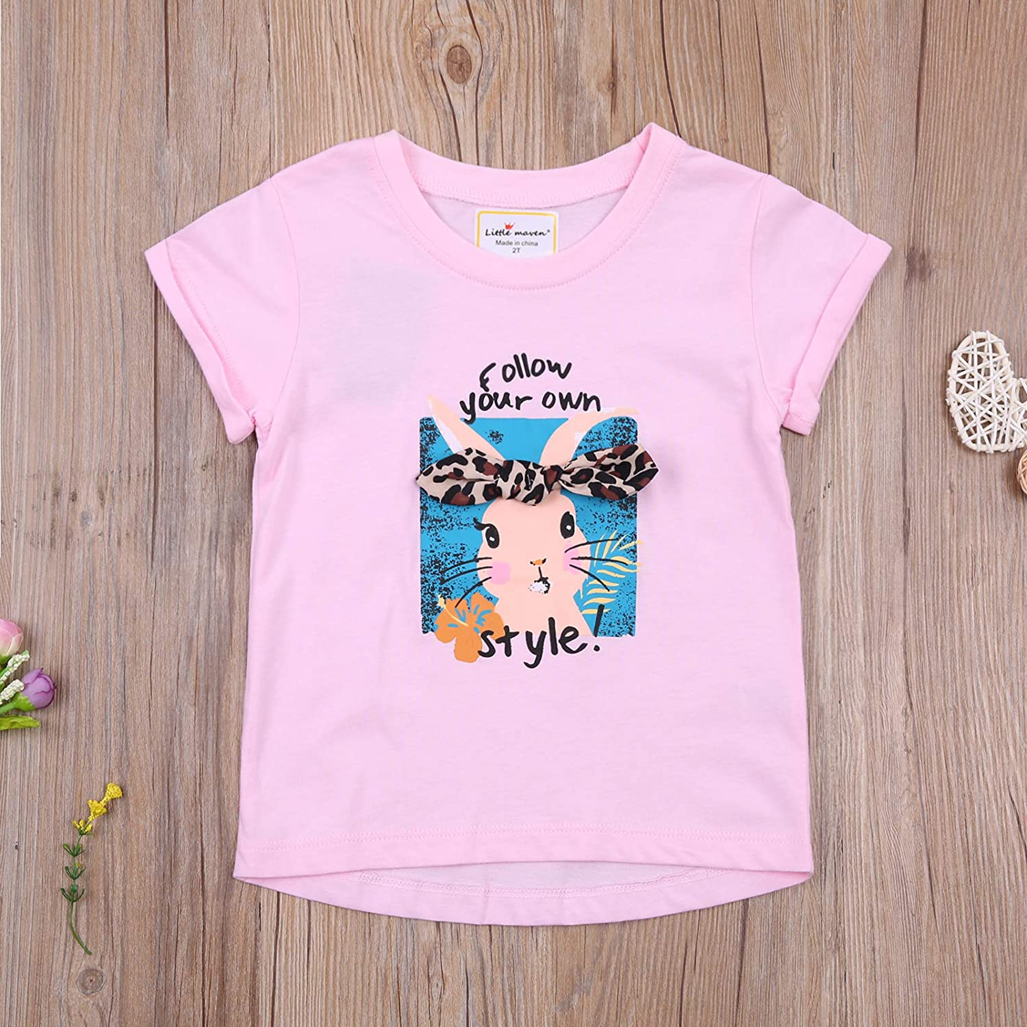 Easter Toddler Girl Outfits Rabbit Short Sleeves Toddler Girl Easter Shirt Clothes 2-8T