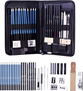H & B Sketching Pencils Set, Drawing Pencils and Sketch Kit, 40-Piece Complete Artist Kit Includes Graphite Pencils, Pastel Stick and Eraser, Professional Sketch Pencils Set for Drawing