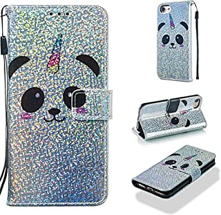 Case for iPhone 6S/6/7/8,Slim Sparkly Bling Glitter PU Leather [Kickstand] Wallet Case with Inner Soft Bumper Shockproof Magnetic Closure Wrist Strap Compatible with Apple iPhone 6S/6/7/8 -Panda