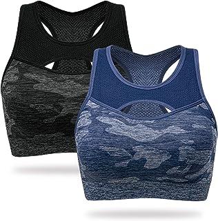 WingsLove Women's Medium Impact Sports Bra Full Figure Wirefree Running Yoga Workout Bra Removable Pads