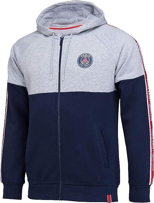 Paris Saint Germain - Felpa con cerniera e cappuccio PSG, collezione ufficiale, taglia uomo
