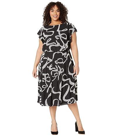 Adrianna Papell Plus Size Dotted Ribbon Blouson Dress (Black Multi) Women