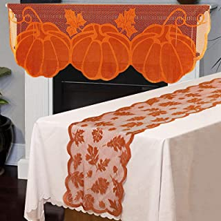 """Camlinbo 2 Pack Fall Decorations 13"""" x 72"""" Fall Table Runner 20"""" x60"""" Fireplace Mantle Scarf Lace Maple Leaves Pumpkin Aut..."""