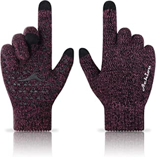 Winter Knit Gloves Touchscreen Warm Thermal Soft Lining Elastic Cuff Texting Anti-Slip 3 Size Choice for Women Men