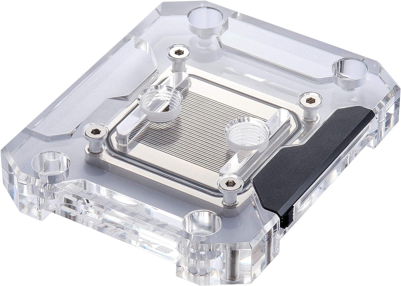 Phanteks Glacier C360a (PH-C360A_01) CPU Bloque de Agua para AMD AM4, Cubierta acrílica, iluminación LED Digital-RGB, Cubierta de Cromo y Negro