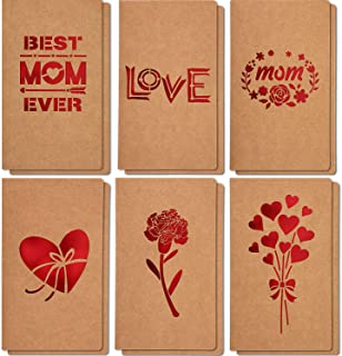 Mothers Day Gift Cards, 12 Pieces MOTHER'S DAY Greeting Cards, 6 Assorted Kraft Die Cut Designs for Mother Gift Best Mom Ever Card, Perfect for Mothers Day Mothers Birthday Party, Envelopes Included